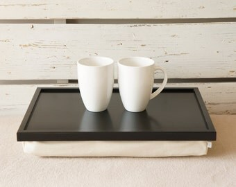 Newlyweds Breakfast serving Tray or Laptop Lap Desk-Black with ivory Linen fabric