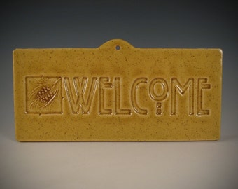 Welcome Tile - Pinecone Arts & Crafts Mission Craftsman Style - wheatfield crackle glaze