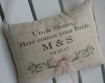 Here Comes The Bride Sign, Wedding Signs, Personalized Ring Bearer Pillow, Beach Wedding, Custom, Summer Wedding