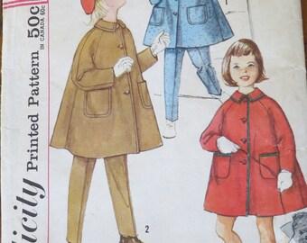 Vintage pattern, child's coat, hat, pants, Size 2 girl. Simplicity Pattern 1950s.  HM.P.3654-13.2-10.7.