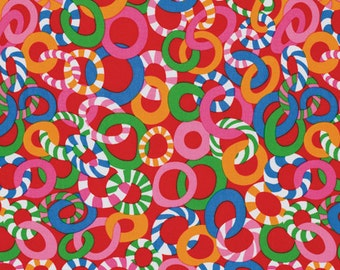 1/2 yard LAMINATED cotton fabric (similar to oilcloth) - 18 x 40 - Jolly Red by Mably - BPA free - Approved for children's products