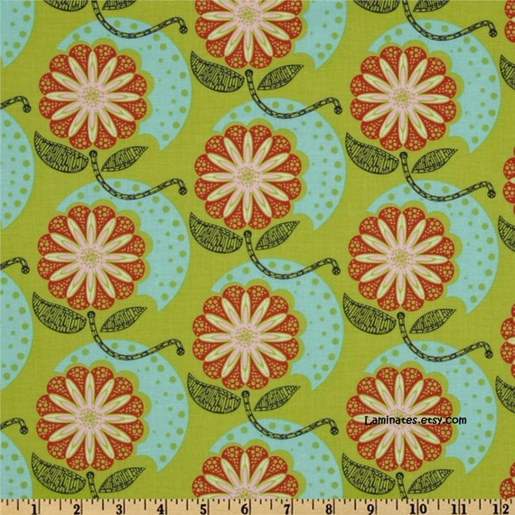 LAMINATED cotton fabric (aka oilcloth) by the yard - Cell Structure Algae (aka coated tablecloth fabric) Horner Field Study WIDE BPA free