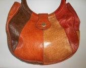 1970s Multicolor Leather Bag, Handbag, Hippie Bag, Bakelite Handles, Soft Goat Leather, Earthy Colors.