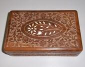 1940s Chip Carved Cedar Wood Box with Faux Ivory (Bone) Inlays, Blue Felt Lining.