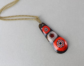 Black Red Millefiori Necklace.  Teardrop Enamel Glass vintage Mod jewelry