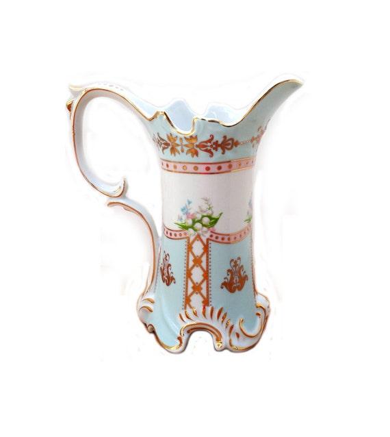 Vintage Royal Danube Porcelain Chocolate Pot Pitcher Gold Leaf Trim Vase