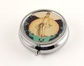 Art Deco Aphrodite Pill Box in silver with Mirror, Travel Pill Organizer, Pill Holder, Jewelry Box, Trinket Box Gatsby Style