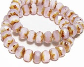 Czech Glass Beads Faceted Rondelles 9x6 Milky Pink Picasso 12 Pieces  B816