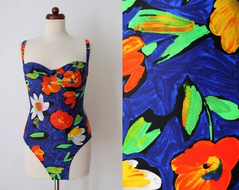 Vintage Swimsuit - Floral Swimsuit - 1990's Bathing Suit - Blue - Size M