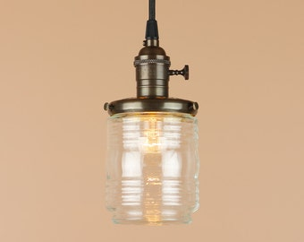 Lighting w/ Nautical Marine Globe Jar - Pendant Light w/ Antique Reproduction Cloth Wire - Hand Finished in Oil Rubbed Bronze