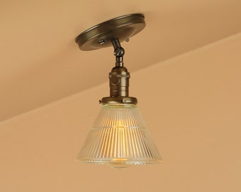 Semi Flush Lighting w/ Holophane Style Glass Shade - Oil Rubbed Bronze - Lighting for Low, Sloped Ceilings / Attics - Downrod Option