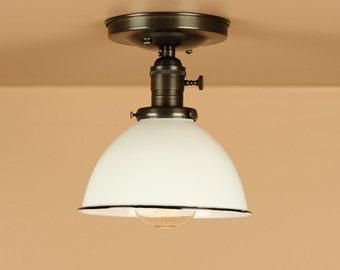 Semi Flush Light w/ 7 inch White, Black, Red, Green Porcelain Enamel Dome Shade - Oil Rubbed Bronze / Satin Nickel - Down Rod Option
