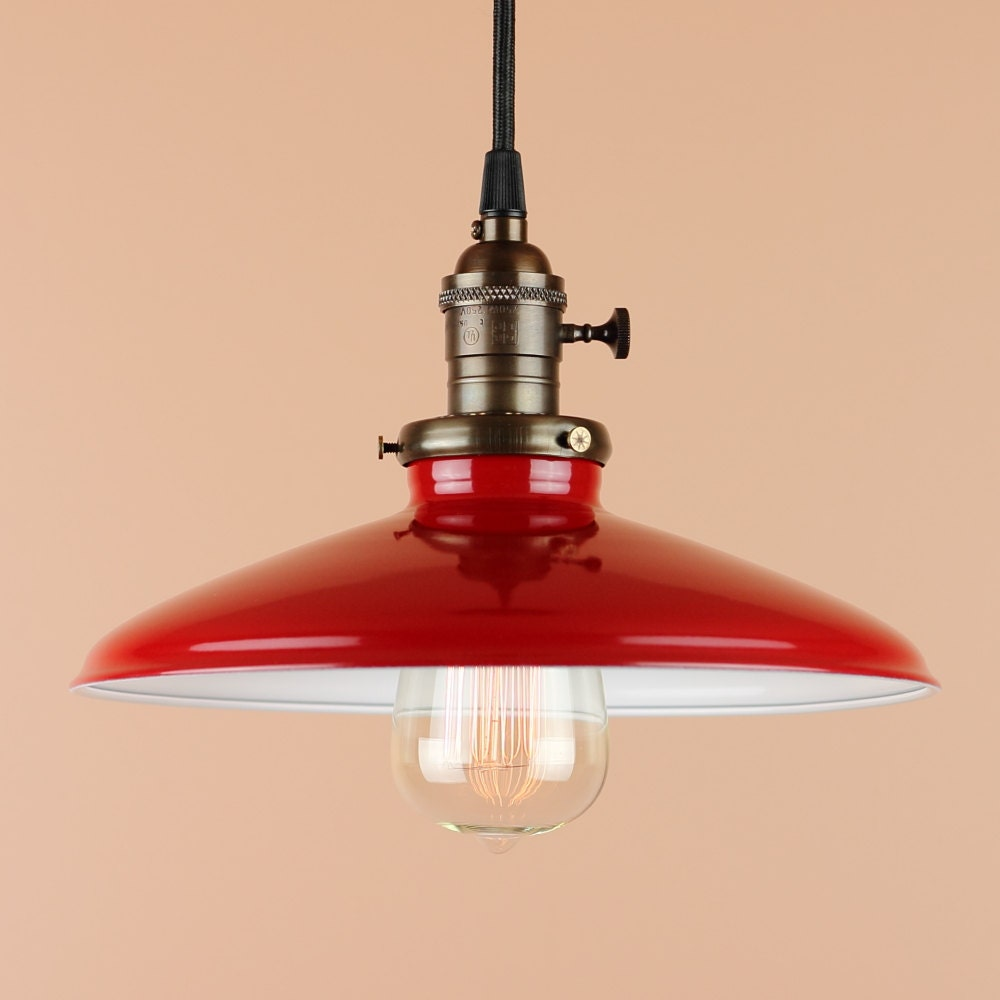 Pendant Lighting W/ 10 Inch Cherry Red Porcelain Enamel Finish