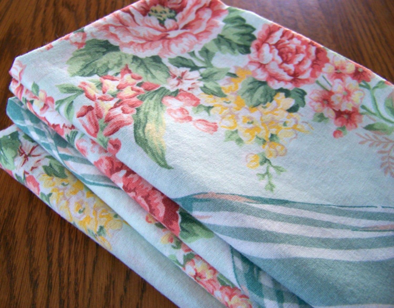 Vintage Tablecloth Easter Tablecloth Robin Egg Blue Floral