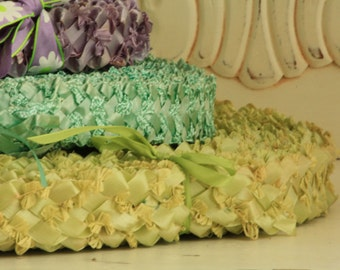 Mint Green Millinery Trim - 1950's Hat Making Supplies - Vintage New/Old Store Stock - Green Braided Straw Trim - Craft Supply