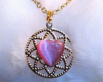Child's Pink Cat's Eye Heart and Gold Filigree Necklace