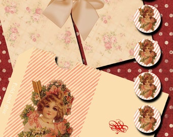VINTAGE VALENTINE NOTES - Printable Digital envelopes and vintage note cards in two sizes 874s