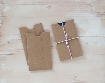 "Brown Kraft Mini Sleeve Envelopes - 10 pc / 25 pc - 2.25"" x 3.75"""