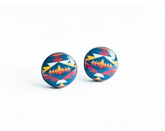 Blue tribal earrings studs native post earrings, ethnic jewelry, tribal stud earrings