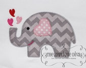 Valentine's Day Love Elephant Digital Embroidery Design Machine Applique