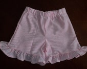 Girls Ruffled Seersucker Stripe Shorts  - Toddler Girls Size 12 months to 5T - Many Colors Available