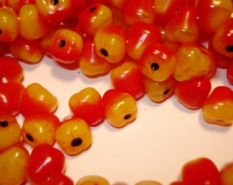 Czech milky yellow with red accents -  glass pear fruits