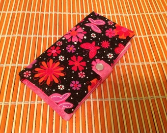 Fabric check book cover - sparkling flowers and butterfly