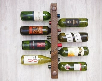 Wooden Wine Rack 8 Bottle High Capacity, Unique Wedding Gift, 5th Anniversary Gift, Wine Party Gift