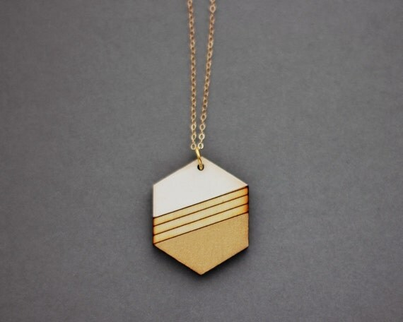 Wooden Gold Dipped Striped Hexagon Necklace (White - Gold) - Modern Handmade Jewellery