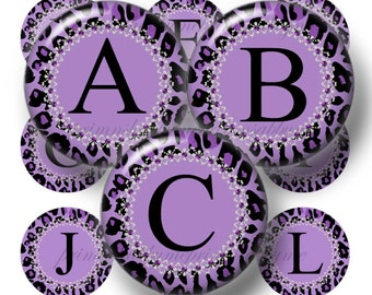 Alphabet, Letters, Purple Leopard Print, Bottle Cap Images, Digital Collage Sheet, 1 Inch Circles, Printable, Instant Digital Download