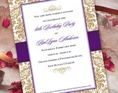 birthday party invitations, bridal shower invitations, gold and purple invitations, eggplant and gold bridal shower invitations, IN179