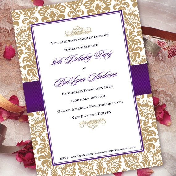 birthday party invitations bridal shower invitations gold – Gold and Purple Wedding Invitations
