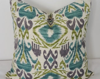 Overstock SALE OUTDOOR Pillow Cover Teal Green Ikat Pillow Cover Deck Patio  Porch 16x16 Ready To