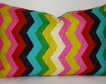 Waverly Panama Wave Multi-Color Zig Zag Chevron Lumbar Print Decorative Pillow Cover 12x18