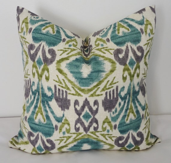 OUTDOOR Pillow Cover Teal Green Ikat Pillow Cover Deck Patio Porch 16x16