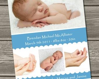 Baby Boy Birth Announcement (Digital File) Brendan - I Design, You Print