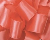"Wired Ribbon, 1 1/2"" wide, Coral Pink Satin - THREE YARDS  - Offray ""Contessa"" Coral, Wedding Wire Edged Satin Ribbon"