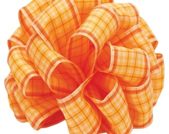 "Wired Ribbon, 1 1/2"" wide, Orange, Peach, Apricot Plaid - THREE & 1/8 YARDS - Offray ""Abbeyville"" #350 Spring Tartan Plaid Wire Edged Ribbon"
