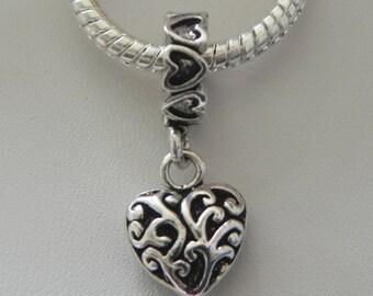 Heart with Swirls Charm Dangle  Bead Spacer Fits  European Style Bracelets