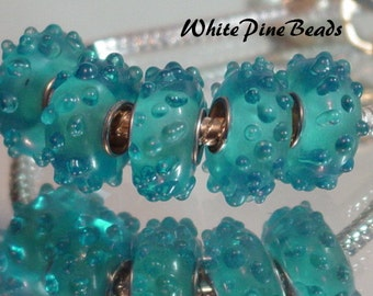 Turquoise Aqua Blue Raised Bead   Handmade Murano Glass Fits European Bracelets