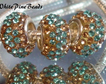 Gold and Turquoise CZ Crystals Beads fits European Style Charm Bracelet
