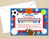 All Star Sports Party - CUSTOM Birthday Party Invitation - DIY Party Printables - Digital Download and Print