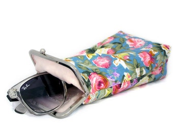 Spring Sunglasses Case - wide single glasses case - Turquoise with pink flowers - 100% cotton - silver frame