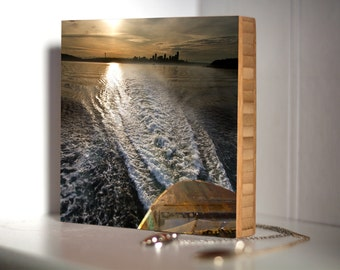 Bamboo Block, Nw, living room, wall art, wood, print, original photography, pacific, nautical, boat, water, city, sunrise, sunset, ferry