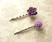 Purple and Lavender Flowers-  2 Romantic Bobby Pins