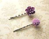 Lila und Lavendel Blumen-2 romantische Bobby Pins