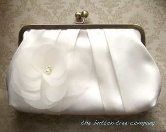 Ivory Wedding Clutch Purse with Ivory Flower Adornment- Custom