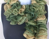 Ruffle lace soft scarf hand knit Green Beige silver shiny multicolored