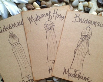 Thank You Gifts for Bridesmaids Personalized Greeting Cards SET of 3 with YOUR Dress Replicated on Rustic Chic Wedding Cards