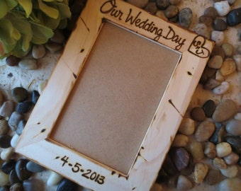 Our Wedding Day Personalized Frame with Carved Initials and Engraved Wedding Date - Great Bridal Shower Gift Holds a 4x6 Photo